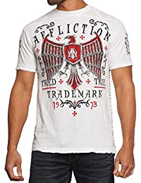 Men Shirt Live Fast Eagle Wing Red Graphic Short Slvs Crew Neck in White