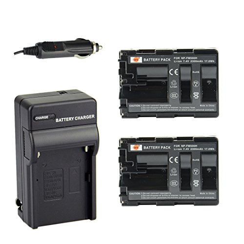 DSTE 2x NP-FM500H Battery + DC01 Travel and Car Charger Adapter for Sony Alpha SLT A58 A57 A65 A77 A99 A77V A77II A350 A450 A500 A550 A700 A850 A900 Alpha a99 II CLM-V55 DSLR Camera as NP-FM500