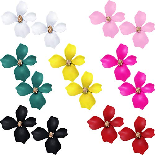 7 Pairs Boho Flower Stud Earrings for Women Girls - Flower Shaped Daisy Earrings with Gold - Oversized Stud