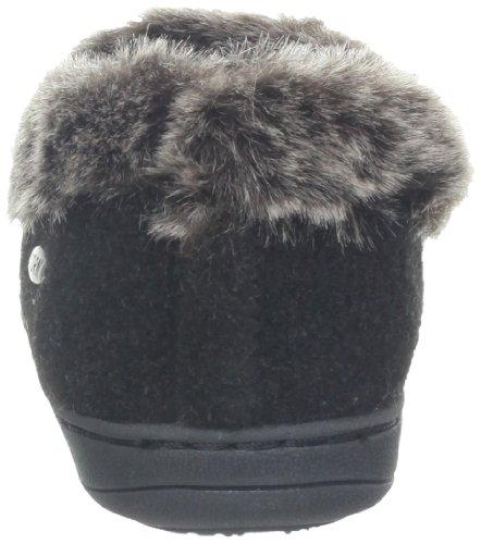Acorn Women's Faux Chinchilla CollarSlipper Black 4DHjdijb5F