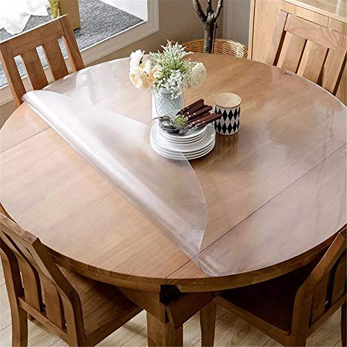 on 1.5mm Thick No Plastic Smell Frosted 45 Inches Round Table Cover, Water Resistant Odorless Vinyl Table Protector Circle Table Pad for Coffee, Glass, Dining Room Table ()