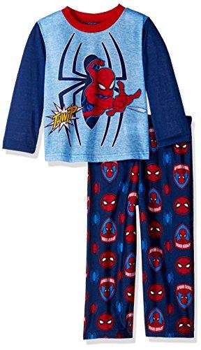 Marvel Boys' Toddler Spiderman 2-Piece Pajama Set, Arachnid Blues, 2T