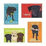 Pop Doggie Black Labrador Retriever Refrigerator Magnets with Funny Sayings (Set of 4)