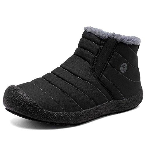 CIOR Herren und Damen Schneeschuhe Fell Gefüttert Winter Outdoor Slip On Schuhe Stiefeletten 2.black/High Top