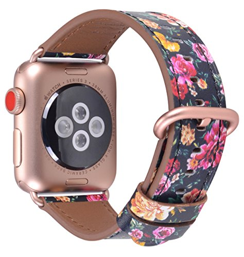 PEAK ZHANG Compatible Iwatch Band 38mm 40mm S/M Women Genuine Leather Replacement Strap Compatible iWatch Series 3 Gold/Series 4 Gold Aluminium,Black/Pink Flowers Printed
