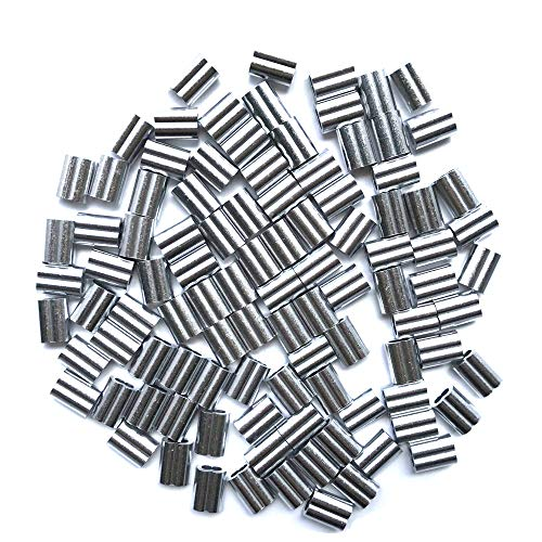 (HEVERP 100PCS Aluminum Crimping Loop Sleeve for 3/32