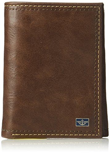 Dockers Men's RFID Leather Trifold Wallet With Zipper Pocket, -tan, One ()