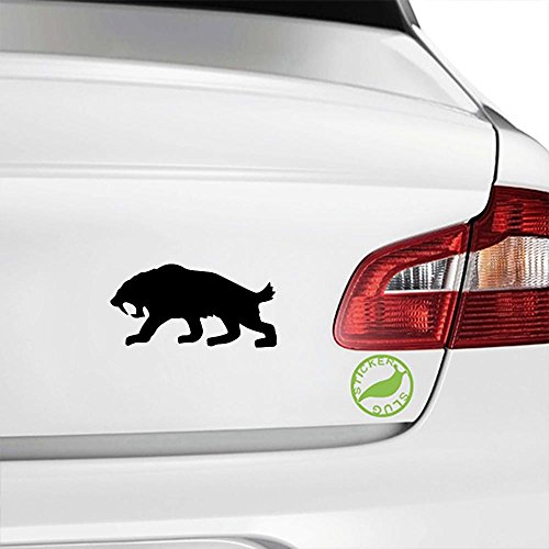 Sabertooth Tiger Decal (gloss black, 5 inch) for car truck window suv boat motorcycle and all other auto glass and bumper in gloss vinyl (Glass Sabertooth)