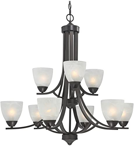 Design Classics Lighting Modern Bronze Finish Hanging Chandelier with 9 Lights