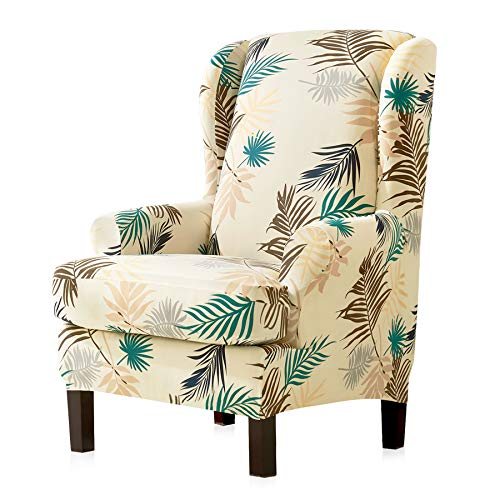 (Subrtex 2pcs Wing Chair Slipcovers Stretchy Wingback Armchair Covers Detachable Spandex Sofa Covers Leaves Printed Furniture Protector (Yellow))