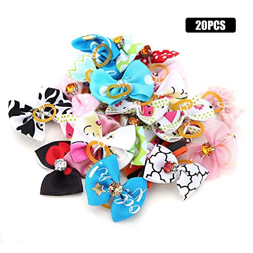 Qiterr Cute Dog Cat Puppy Hair Bows with Rubber Bands Pet Headwear Grooming Accessories(20pcs) -