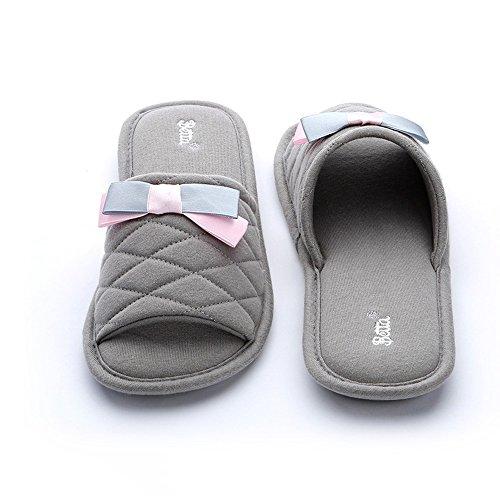 ZHIRONG Zapatillas de mujer Interior de la casa Antideslizante Pantuflas de algodón grueso resistente al desgaste Tamaño del color Opcional ( Color : Purple , Tamaño : 38/39 ) Gris claro