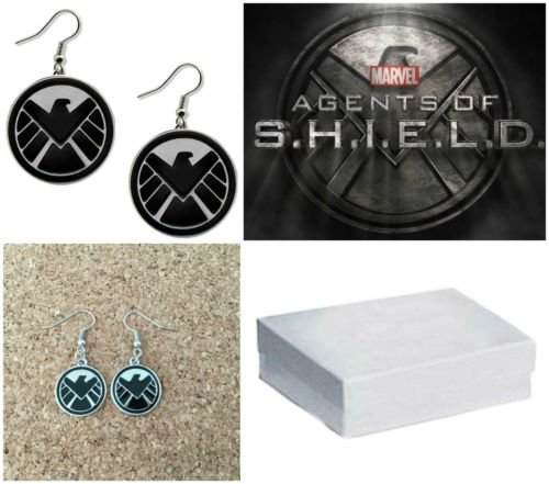 Avengers Marvel S.H.I.E.L.D Logo Charm French Wire Dangle Earrings W/Gift Box by I.E.Y.online-store (Wire Earrings Team Logo)