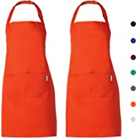 esonmus Schürze Kochschürze Küchenschürze 2 Set mit 2 Taschen Latzschürze kochschürze für Frauen Männer Chef verstellbarem Nackenband