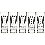 Blue Panda Party Favors Shot Glasses – Bachelor Shot Glasses Tuxedo Groom, Best Man & Groomsman Prints- Set of 5, 2 oz Each For Sale