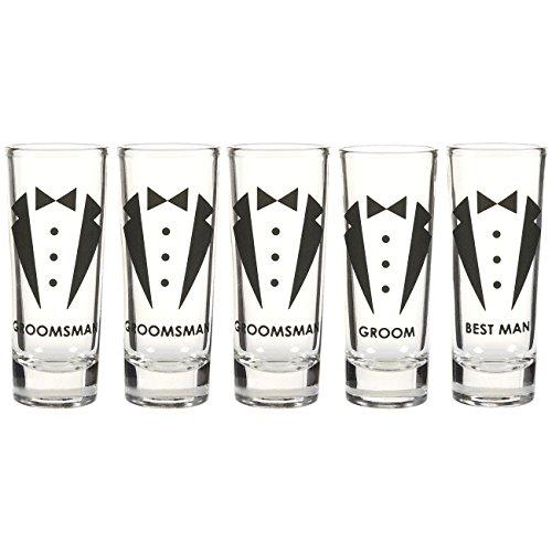 Blue Panda Party Favors Shot Glasses - Bachelor Shot Glasses Tuxedo Groom, Best Man & Groomsman Prints- Set of 5, 2 oz -