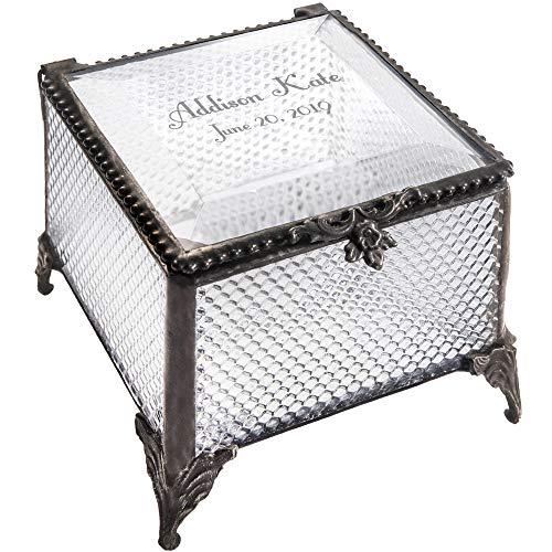Personalized Baby Keepsake Box Customized Baptism Christening Gift Clear Textured Glass Box EB217-2 J Devlin