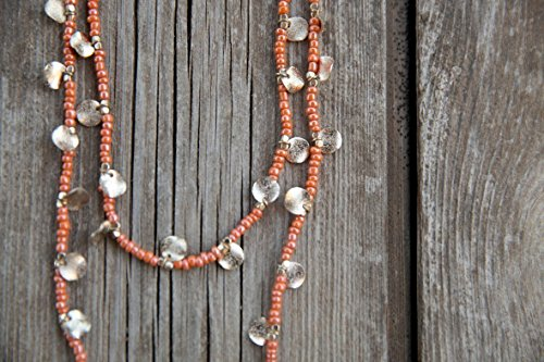 orange Long necklace, Long beaded necklace, Bead necklace, Yoga Beads, orange chain , Long necklace, Chain for summer, Chain to the - Uk Shopping Websites Good