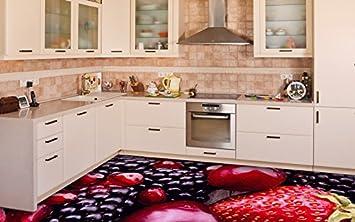 3D Küche Boden Vinyl Dekor PVC Bodenbelag Teppich Aufkleber Fliesen ...