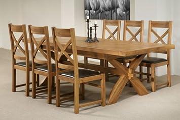 Ausziehbarer Esstisch Mit 8 Stühlen U0026quot;Provenceu0026quot;, Massiv Eichenholz