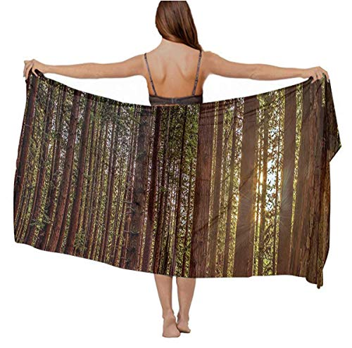 (Swimwear Cover up Beach Sarong Nature Redwood Forest In California Wrap Scarf skirt gift)