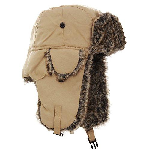 FLOSO® Mens Faux Fur Lined Showerproof Thermal Trapper Hat (60cm) (Sand)