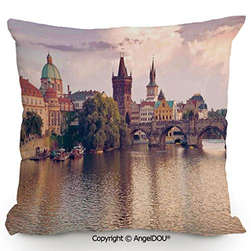 (AngelDOU Throw Pillow Cotton Linen Pillow Cover and Inserts 17.7x17.7 Inch Pastoral View at Charles Bridge Spires of Prague Central Europe Gothic Buildings Image Modern Home Office Sofa Bed Nice Deco)
