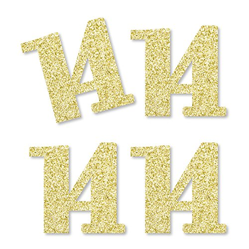 Gold Glitter 14 - No-Mess Real Gold Glitter Cut-Out Numbers - 14th Birthday Party Confetti - Set of 24]()