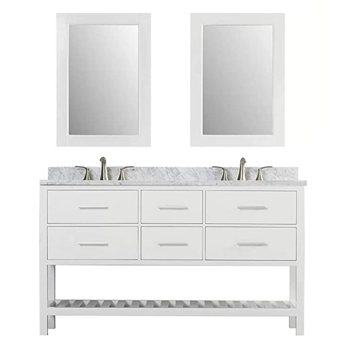 Luca Kitchen Bath Lc61bww Valencia 61 Double Vanity Set In White With Carrara Marble Top Sink And Mirror Amazon In Home Kitchen