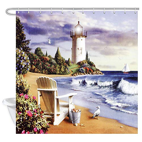 ZIXCOS Scenery Shower Curtain, Sea Lighthouse Sandbeach, Polyester Fabric Waterproof Shower Curtain for Bathroom, 69X70in, Shower Curtains Hooks Included (Fabric Lighthouse Shower Curtain)