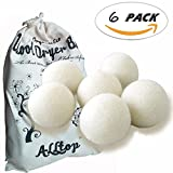 Wool Dryer Balls,6 Pack XL Balls,Natural Fabric Softener Wool,Super Absorbent,Reusable. Anti Static X-Large Felted Wool Clothes Dryer Balls is an Alternative to Plastic Laundry Balls,White