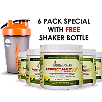 Image of BodyHealth PerfectAmino XP Lemon Lime (6 Pack + Shaker Bottle), Best Pre/Post Workout Recovery Drink, 8 Essential Amino Acids Energy Supplement with 50% BCAAs, 100% Organic, 99% Utilization Health and Household