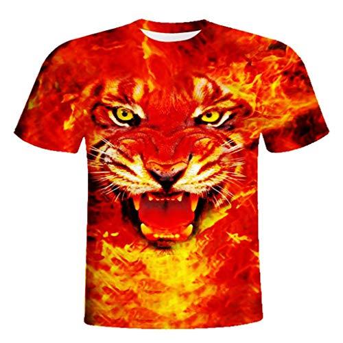 (XQXCL Men's Fashion Fire and Tiger 3D Printing T-Shirt Tees Shirt Short Sleeve T-Shirt Blouse Tops Red)