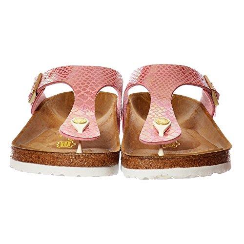 Birkenstock Women's Gizeh Shiney Snake Birkoflor -Standard Fitting Buckled Toe Post Thong Style - Flip Flop Sandal UK4 - EU37 - US6 - AU5 Snake Rose