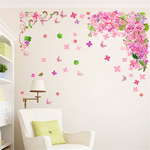 BIBITIME Branch Vines Blooming Flower Rose Wall Decal Falling Green Leaves Flying Butterfly Vinyl Sticker for Girls Bedroom Study Nursery Kids Room Decor Home Art Mural (Falling Leaves Wall Sticker)