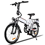 Etuoji 18.7 inch Wheel Aluminum Alloy Frame Folding Mountain Bike Cycling Bicycle with Removable Lithium-Ion Battery and Battery Charger White