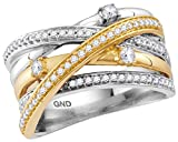Jewels By Lux 14kt Two-tone White Yellow Gold Womens Round Diamond Crossover Band Ring 1/2 Cttw Ring Size 7