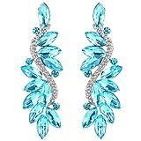 #5: BriLove Women's Wedding Bridal Crystal Multi Marquise Filigree Flower Chandelier Clip-On Dangle Earrings