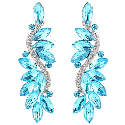 (BriLove Wedding Bridal Clip On Earrings for Women Crystal Multi Marquise Filigree Flower Chandelier Dangle Earrings Aquamarine Color Silver-Tone)