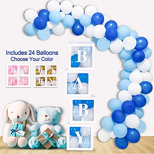 Mint+Elm Blue Baby Shower Decorations for Boys, Clear Boxes with Balloons, Birthday Decorations, Gender Reveal Box for Balloons, 37 Pieces