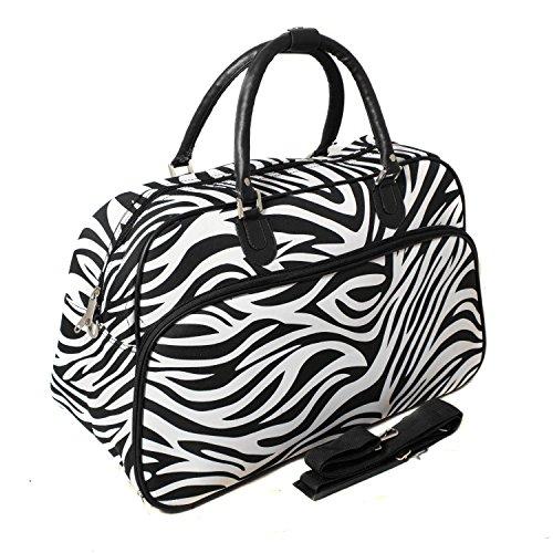 World Traveler Zebra Print Travel Bag, Black and White
