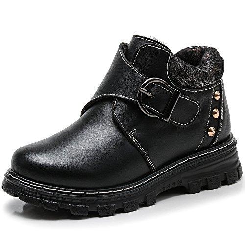 VILOCY Kid's Boy Microfiber Leather Velcro School Snow Boots Warm Fur Lined Buckle Slip On Sneaker Shoes