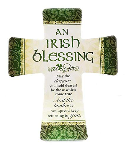 Irish Glazed Porcelain Cross with Irish Blessing (Hanging or Standing Decoration)