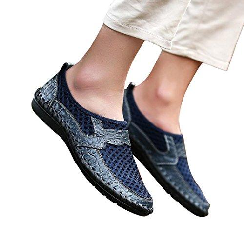 con Blu Scarpe Casual Uomo da Dimensioni Superficie Pigro Sportive di Traspiranti All'Aperto SOMESUN Rete Mesh Grandi in Casuale Fagioli Piselli Scarpe Pedali Morbida Ondeggianti nfwRqgx0p