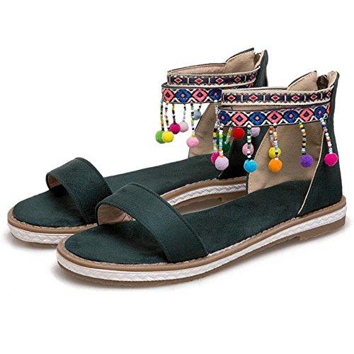 Coolcept Women Classic Open Toe Sandals Zipper Green