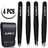 Tweezers Set 4-Piece Professional Stainless Steel Tweezers with Travel Case by Aumelo - Best Precision Eyebrow and Splinter Ingrown Hair Removal Tweezer Tip for Men & Women,Black