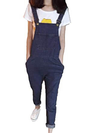 Runyue Womens Retro Loose Casual Baggy Sleeveless Overall Denim