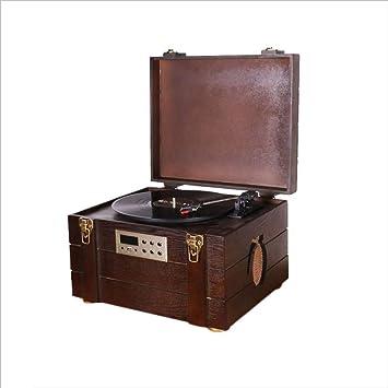 XiaoZou Bluetooth clásico Grabación Dial del automóvil Clásico Retro Fonógrafo Caja de municiones LP Reproductor de Discos de Vinilo/USB, Radio FM, Reproductor de Cintas de Casete: Amazon.es: Electrónica