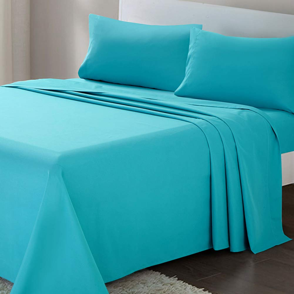 ARTALL Soft Microfiber Bed Sheet Set 4-Piece with Deep Pocket Wrinkle Free Hypoallergenic Bedding - Full, Teal