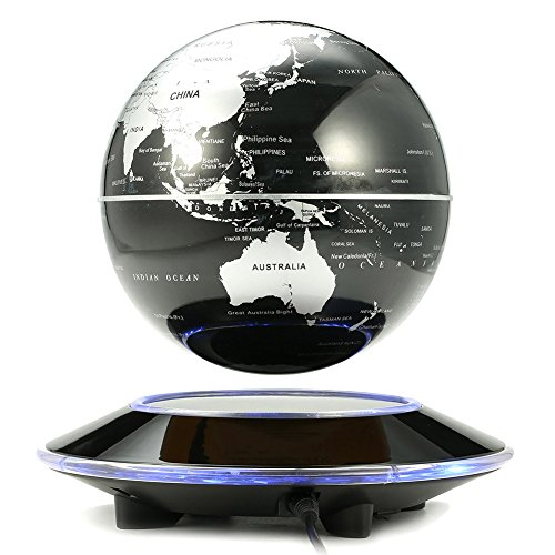 Solvang Magnetic Levitation Floating Globe Rotating Illuminated World Map with Colored LED Light Anti Gravity Globe for Children Educational Gift Home Office Desk (Golden Globe Costume)